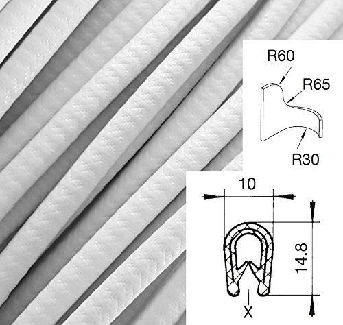 KS1-4W weiß Kantenschutz, Kantenschutzprofil Klemmbereich 1-4 mm Maße 10x14,5 mm Klemmprofil, Gummiprofil, U Profil