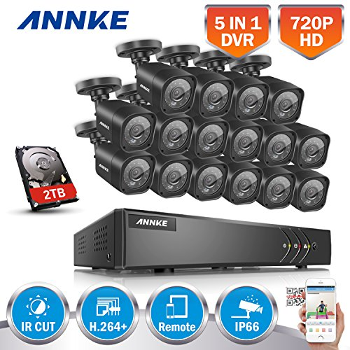 Get ANNKE 16-Channel 1080P Lite Surveillance DVR w/ 2TB HDD and (16) 720P Day Night Security Cameras System, Weatherproof, P2P/ E-Cloud Technology, Easy DIY QR Code Scan Quick Remote Access on Line