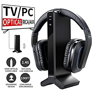 Artiste D1 Wireless TV Headphone with 2.4GHz Digital Transmitter Charging Dock,Multiple headphones Connected Cordless Headphone Headset for Computer TV Radio …