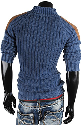 Tazzio Herren Pullover Grobstrick Pulli Sweatshirt Strickjacke Jacke Blau