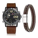 NAVIFORCE Herren Analog-Digital Quarzwerk Uhr mit Leder Armband Wasserdicht Kalender 9095 Braun