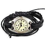 DISTRESSED Vintage Leder Armbanduhr Damenuhr verschiedene Designs (geflochten-schwarz)