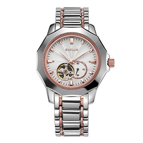 binlun-bl0064r-pour-homme-argent-2-tons-rose-rouge-avec-mecanique-a-vent-en-acier-inoxydable-montre