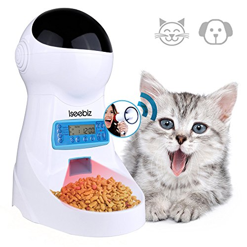 Iseebiz Automatic Cat Feeder 3L Pet Food Dispenser Feeder For Medium And Large Cat Dog——4 Meal, Voice Recorder And Timer Programmable,Portion Control