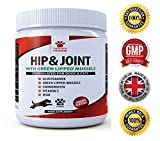 Advanced Hip And Joint Support for Dogs & Cats - Glucosamine Chondroitin MSM PLUS Green Lipped Mussels - Food Supplement With Vitamins C - Pain Relief Medicine Treats For Arthritis & Dysplasia - Chicken Flavour Powder - Furever Friendz