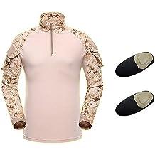 Camisa táctica, QMFIVE Manga larga Camuflaje camuflaje Camo Camiseta con codo para táctico Airsoft Paintbal