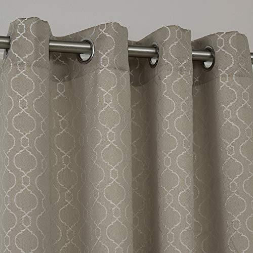 Deconovo Jacquard Vorhang mit Ösen Wohnzimmer Muster Thermovorhang 175x140 cm Taupe 2er Set