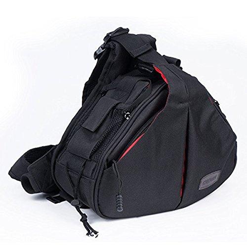 Caden Kompakte Kameratasche Sling Schulter Cross Bag Carry Umhängetasche Abnehmbare Gepolsterte Teiler für DSLR/SLR Sony Canon Nikon 1 Kamera 2 Objektiv Stativ