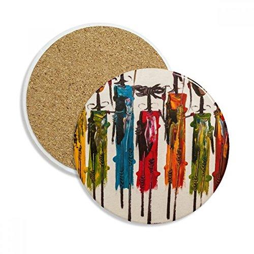 Abstrakte Kunst afrikanischen schwarz Warrior Stein Drink Keramik Untersetzer für Tasse Geschenk 2 (Afrikanische Kunst Afrika)
