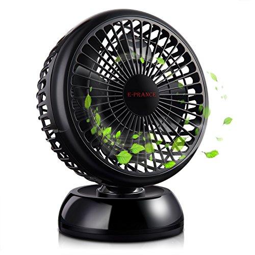 E-PRANCE USB Ventilator Tischventilator Mini Fan, Kraftvoller und Geraüscharmer, 360°/30°Winkel Drehbar mit einziehbarem USB-Kabel, 2 Geschwindigkeitsstufen,ideal für Büro Schreibtisch und Kinderzimmer,WEEE Zertifiziert,Schwarz