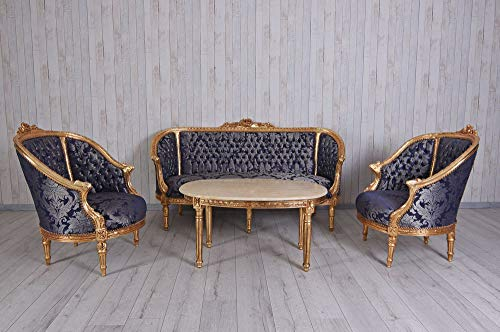 Sitzgruppe Barock Salongarnitur Sofa & Zwei Sessel Tisch Marmorplatte cat502a53 Palazzo Exklusiv