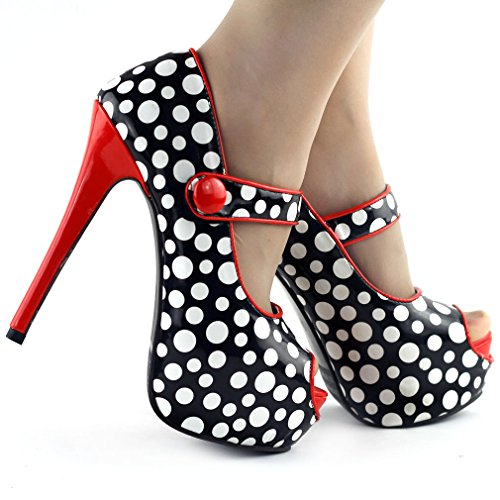 Voir l'établissement histoire Womens Polka Dots Peep Toe cheville sangle Stiletto plate-forme pompe, LF80806 Rouge