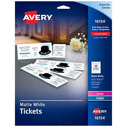Avery weiß matt bedruckbar Tickets mit aufreißbare Stubs, 1-3/10,2cm X 5-1/5,1cm 500Stück (16795) Liefermenge: 200 Stück 1 Packung weiß