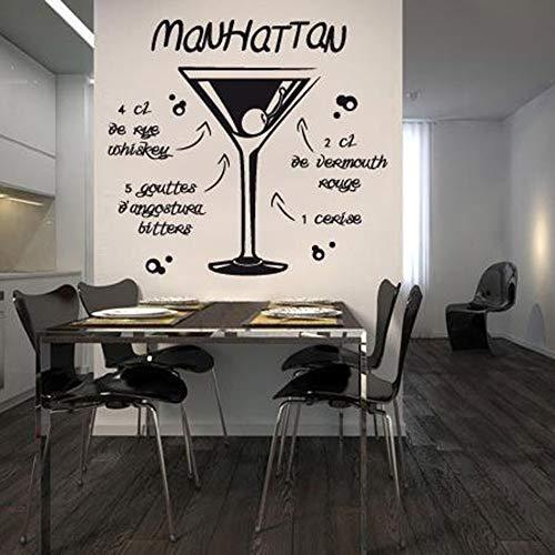 Manhattan Cocktail Kunst Aufkleber Restaurant Küche Abnehmbare Vinyl Wandaufkleber Diy Wohnkultur Wasserdichte Tapete