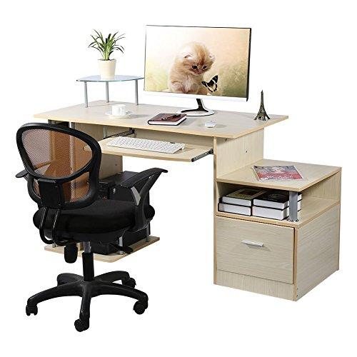 Computer desk scrivania ufficio porta pc tavolo ,con ripiani tastiera ripiano scorrevole tavoli riunioni,colore rovere teak