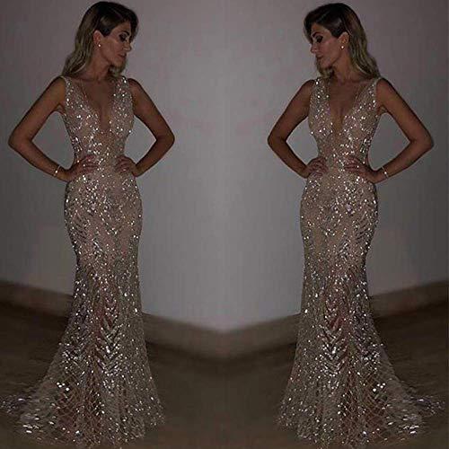 AIYKXY Paillettenkleid des EuropäIschen Und Amerikanischen Neuen Kleides Reizvolles Sleeveless Tiefes V Kleid