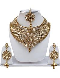 Lucky Jewellery Designer Golden White Color Stone Necklace Set For Girls & Women - B0786GPBSC