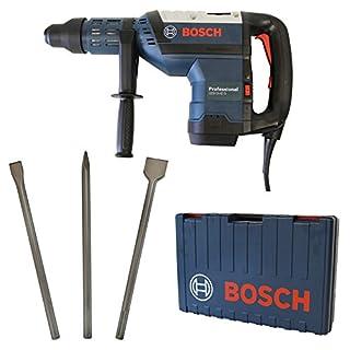 Bosch Bohrhammer GBH 8-45 D Professional SDS-Max im Handwerkerkoffer kraftvolle 1.500 Watt + Bosch SDS-MAX Meisselset 3-tlg. Spitzmeißel 400mm, Flachmeißel 25x400mm und Spatmeißel 50x400mm