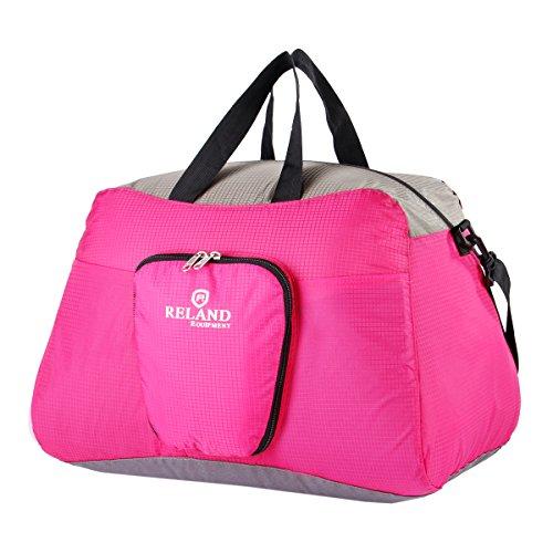 Reland Reisetasche für Damen Herren Sporttasche Seesäcke - Faltbare Ultraleichte Wasserdichter Rosa