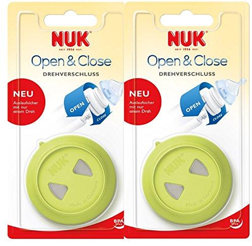 NUK 10256140 Drehverschluss, für First Choice Babyflaschen, BPA-frei, auslaufsicher, 2er Pack (2 Stück), grün