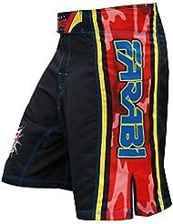 MMA cortos lucha cortos Kick Boxing Enter jaula Muay Thai pantalones cortos de entrenamiento en gimnasio y en pantalones cortos de formación, color  - negro, tamaño klein