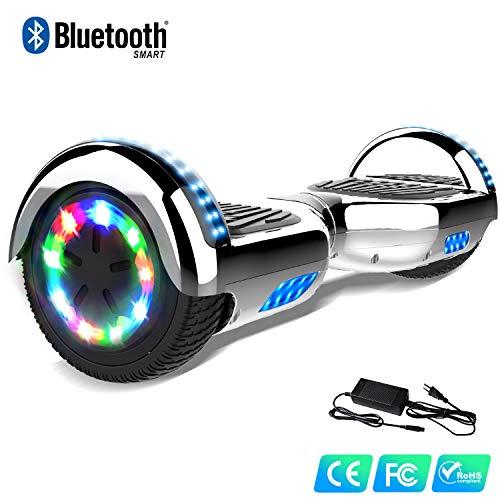 Watson Hover Balance Boards Smart Scooter avec Bluetooth Chromé Multicolore électrique 6.5 Pouces Gyropode Flash LED Auto Equilibré HHHoverboarrrd Auto équilibrage E-Skateboard 350W * 2
