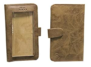 Jo Jo A11 Omni Leather Carry Case Pouch Wallet S View For Karbonn Smart A10_ Light Brown