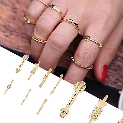 Schmuck Damen-Ring, Dragon868 7pcs / Set Frauen Bohemian Vintage Silber Stack Ringe über Knöchel Blau Ringe Set (Gold) (Partner Leder Kurze)
