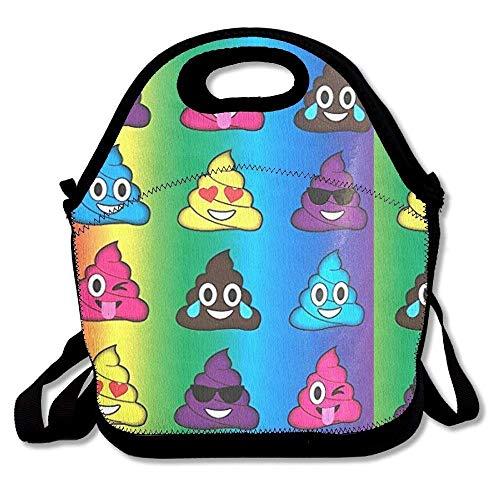 CHI Lunchtasche mit Smile-Emoji-Brille, groß, dick, Neopren, isoliert, warm, mit Schulterriemen für Damen, Teenager, Mädchen, Kinder und Erwachsene