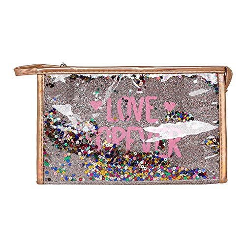 Dkings Kosmetiktasche Kleine Reise Kosmetiktasche für Frauen Mädchen, Pailletten Leder Make-up Pinsel Tasche Tragbare Kosmetiktasche mit Reißverschluss -