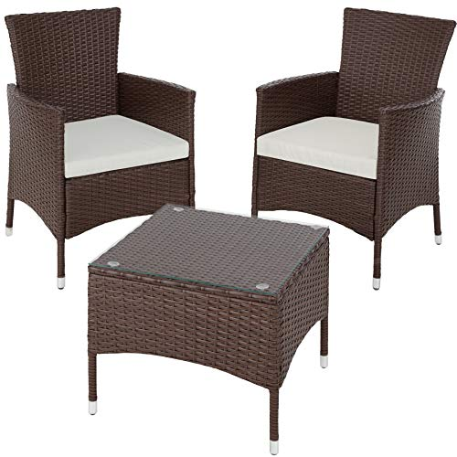 TecTake Résine tressée set de jardin | 2 chaises et petite table à plateau en verre | Châssis robuste en acier - diverses couleurs au choix - (Mixed-marron | No. 402863)
