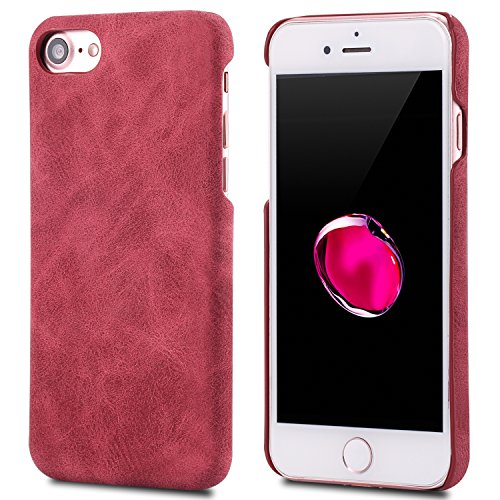 iPhone 8 Case,Genuine Leather Magnetic Case Cover per iPhone 8 (Rosso) Rosso