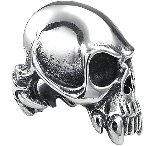 AnaZoz Acero Inoxidable Heavy Gothic Esqueleto Plata Negro Bulky Anillos de Hombres Joyería de Moda