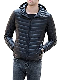 Yasong Men Teenager Hoodie Quilted Padded Duck Down Filled Puffer Coat Light Weight Down Jacket With Hood