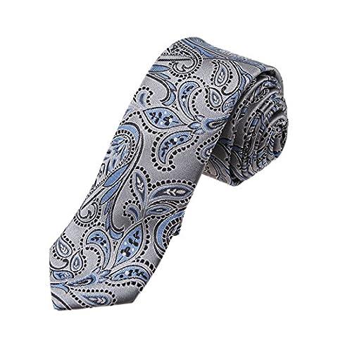 YAEB0001 Gris Noir Bleu Paisley Woven Jacquard de soie Maigre Cravate par Y&G
