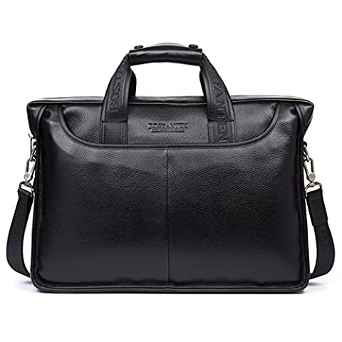 BOSTANTEN Mens Soft Genuine Leather Briefcase Laptop Shoulder Messenger Bag Fits 14 Inch Black
