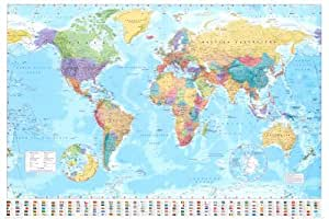 Laminated World Map Poster With Flags New Encapsulated - 36 x 24 Inches (91.5 x 61 cms)