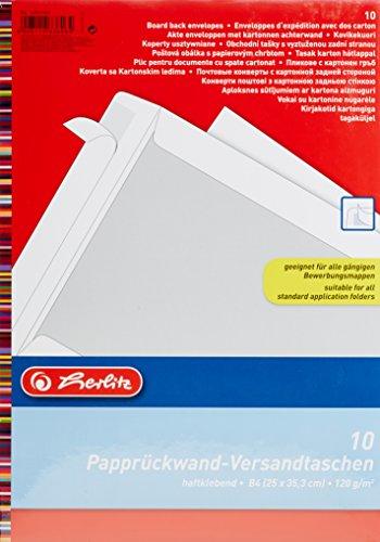 Herlitz 10901049 Versandtasche B4 Papprückwand,weiß, 10 Stück, eingeschweißt mit Haftklebung