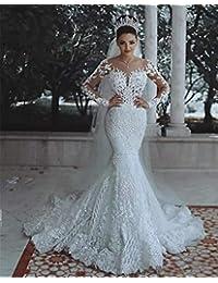 Vestido de Novia, para la Novia de Encaje Elegante ilusión Perlas de Manga Larga con