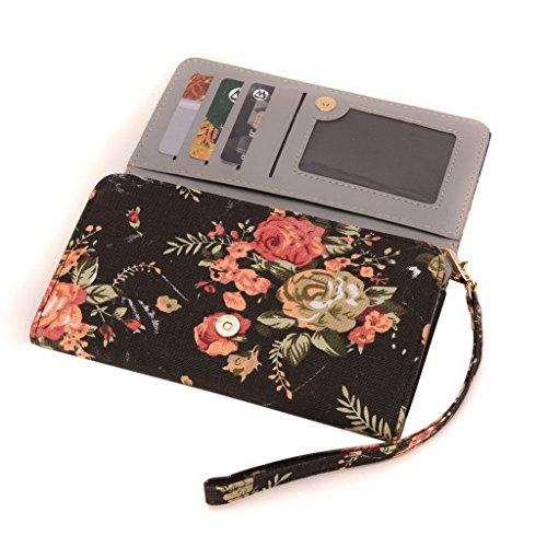 conze Fashion Téléphone portable petit sac de transport avec sangle croix corps compatible avec Philips w3500/w6610/w7555 Black + Flower Black + Flower