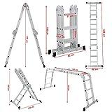 Songmics Leiter Mehrzweckleiter 3,6 m Großes Gelenk mit zwei Aluminium Gerüstplattenset bis 150kg GLT36M -
