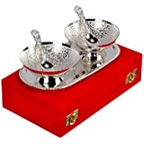 Anand Crafts German Silver Bowl, Spoon & Tray Gift Set