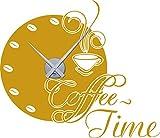 GRAZDesign 800397_SI_820 Wandtattoo Uhr mit Uhrwerk Wanduhr für Küche Spruch Coffee Time Kaffee-Bohnen | Küchenuhr (66x57cm//820 mustard//Uhrwerk silber)