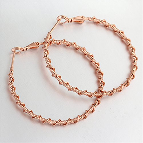 YAZILIND 18K Style Simple inoxydable Grand Round Hoop Boucles d'oreilles pour les femmes Bijoux Cadeau Fête des mères Rose d'or
