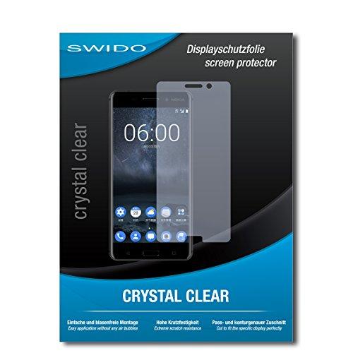 SWIDO Schutzfolie für Nokia 6 [2 Stück] Kristall-Klar, Hoher Härtegrad, Schutz vor Öl, Staub & Kratzer/Glasfolie, Bildschirmschutz, Bildschirmschutzfolie, Panzerglas-Folie