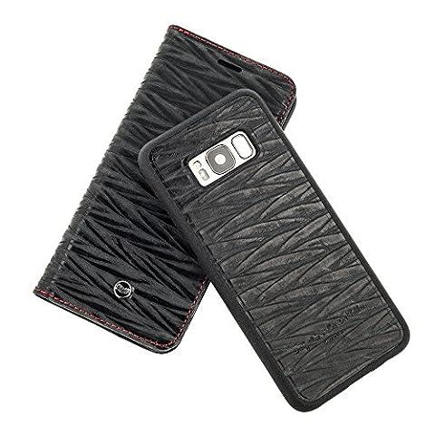 QIOTTI > SAMSUNG GALAXY S8 PLUS < incl. PANZERGLAS H9 HD+, RFID Schutz, 2-in-1 Booklet mit herausnehmbare Schutzhülle, magnetisch, 360 Grad Aufstellmöglichkeit, Wallet Case Hülle Tasche handgefertigt aus hochwertigem italienischem ECHT-LEDER WAVE – BLAU SCHWARZ