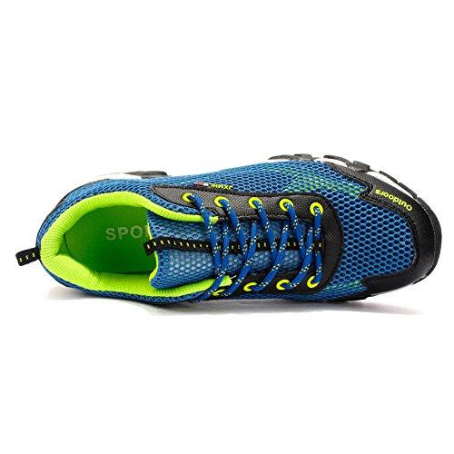 Gomnear Men Trekking Chaussures Respirant Antidérapant Chaussure De Marche Bleu Clair