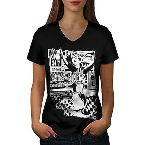Fille Auto Magazine Voiture maquette Publicité Femme L T-shirt à col en V   Wellcoda