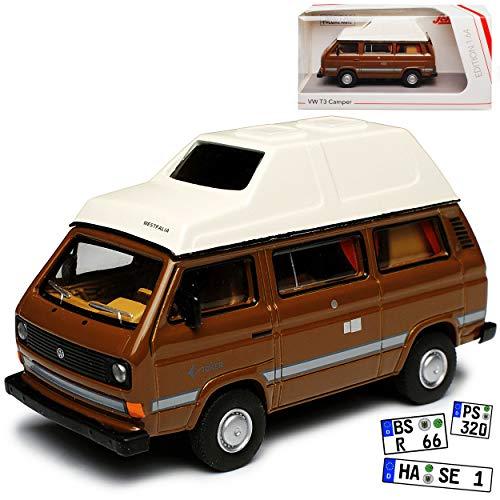 Volkwagen T3 Joker Westfalia Camper Bus Personen Transporter Braun mit Weiss 1979-1992 1/64 Schuco Modell Auto mit individiuellem Wunschkennzeichen (Miniatur 1 64)