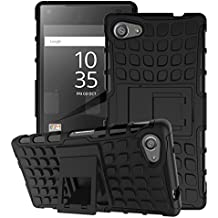 Sony Xperia Z5 Compact 2015 Phone Case - MoKo Heavy Duty Rugged Dual Layer Armor with Kickstand Protective Cover for Sony Xperia Z5 Compact 4.6 Inch Smartphone 2015 Edition, BLACK